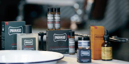 gamme de produits barbier de la marque Proraso, disponibles au salon Hair N'J.